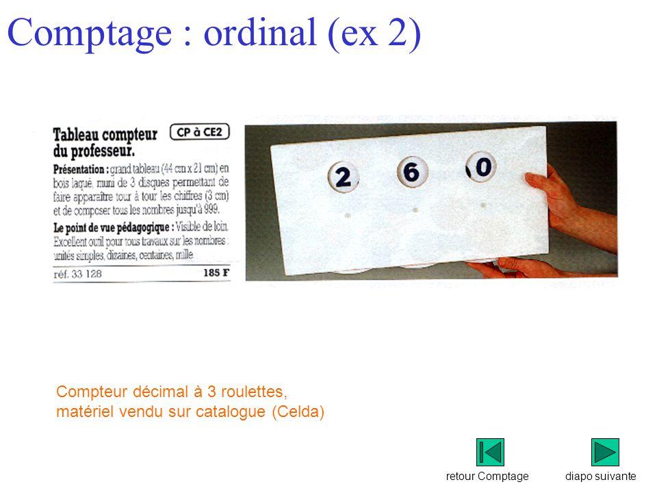 retour Comptage Comptage : ordinal (ex 2) diapo suivante Compteur décimal à 3 roulettes, matériel vendu sur catalogue (Celda)
