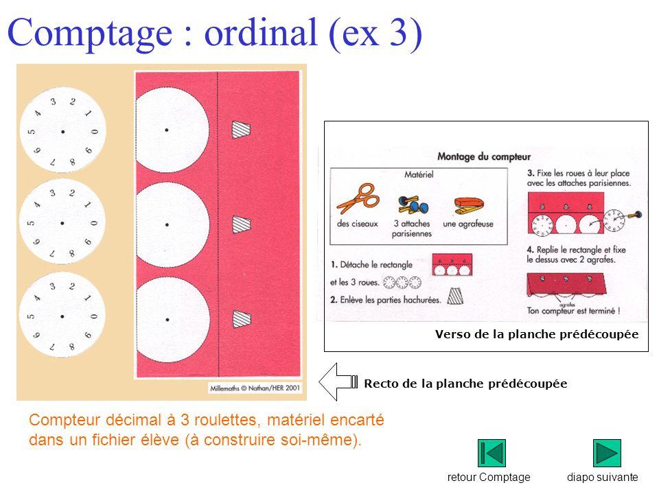 retour Comptage Comptage : ordinal (ex 3) diapo suivante Compteur décimal à 3 roulettes, matériel encarté dans un fichier élève (à construire soi-même).