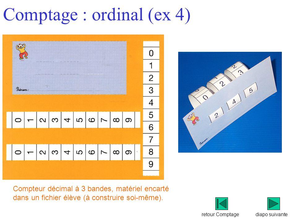 retour Comptage Comptage : ordinal (ex 4) diapo suivante Compteur décimal à 3 bandes, matériel encarté dans un fichier élève (à construire soi-même).