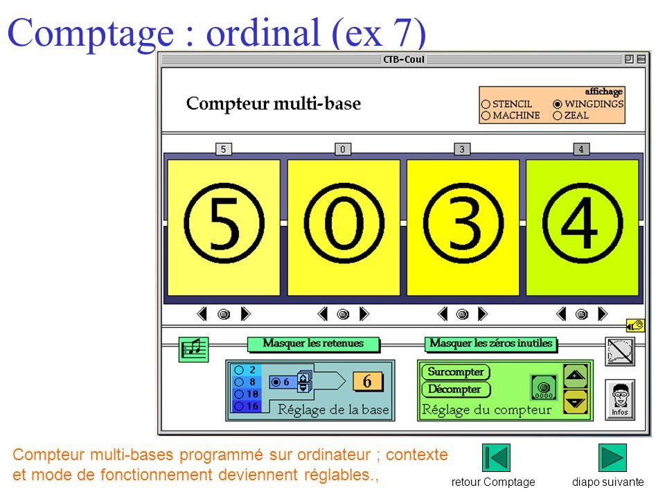 retour Comptage Comptage : ordinal (ex 7) diapo suivante Compteur multi-bases programmé sur ordinateur ; contexte et mode de fonctionnement deviennent réglables.,