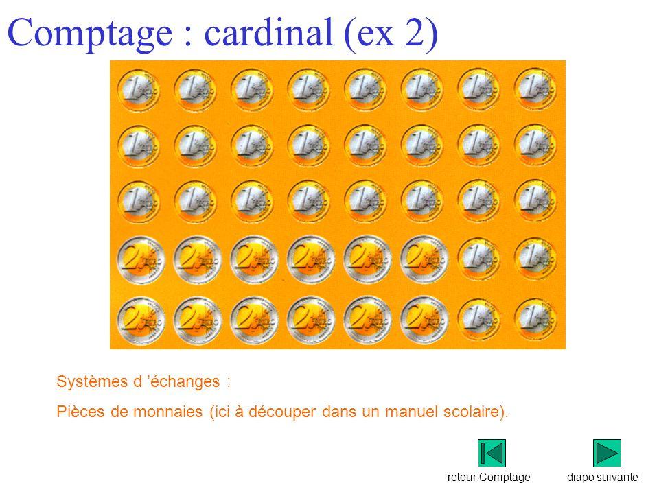 retour Comptage Comptage : cardinal (ex 2) diapo suivante Systèmes d 'échanges : Pièces de monnaies (ici à découper dans un manuel scolaire).