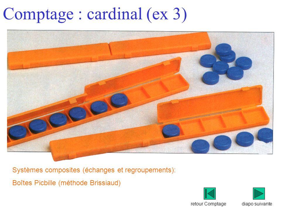 retour Comptage Comptage : cardinal (ex 3) diapo suivante Systèmes composites (échanges et regroupements): Boîtes Picbille (méthode Brissiaud)