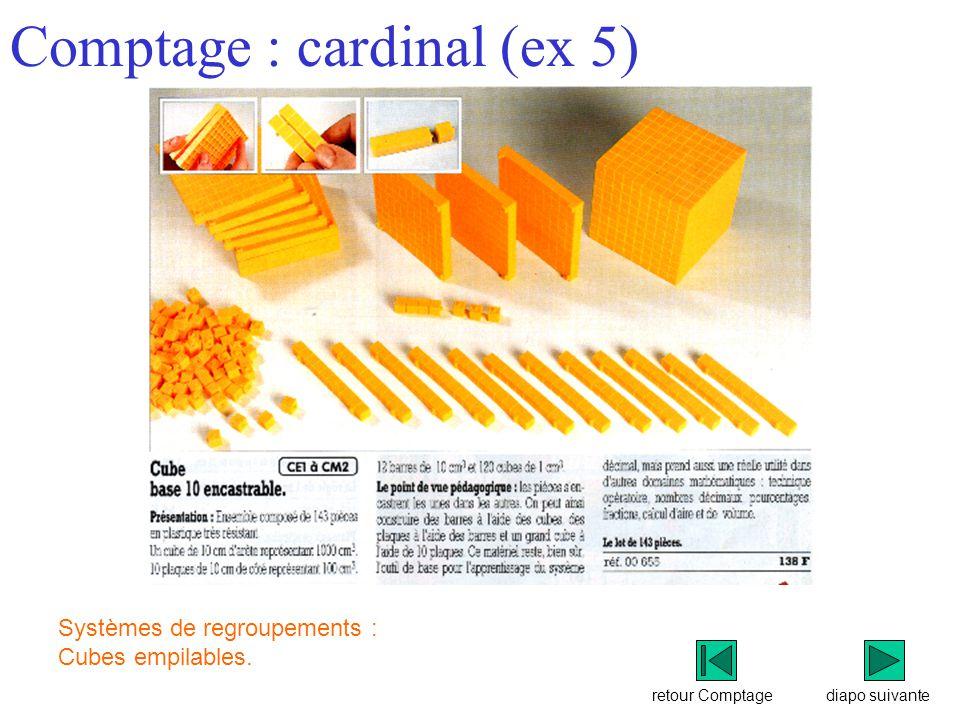 retour Comptage Comptage : cardinal (ex 5) diapo suivante Systèmes de regroupements : Cubes empilables.