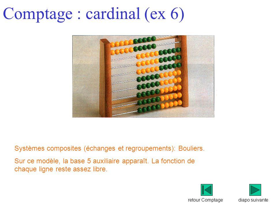 retour Comptage Comptage : cardinal (ex 6) diapo suivante Systèmes composites (échanges et regroupements): Bouliers.