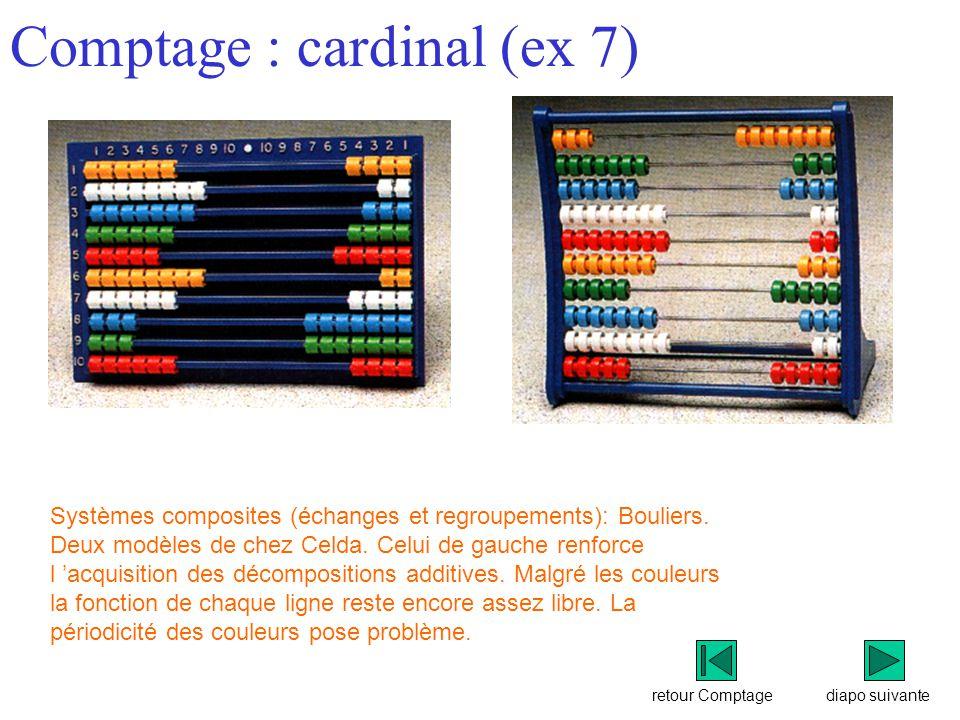 retour Comptage Comptage : cardinal (ex 7) diapo suivante Systèmes composites (échanges et regroupements): Bouliers.
