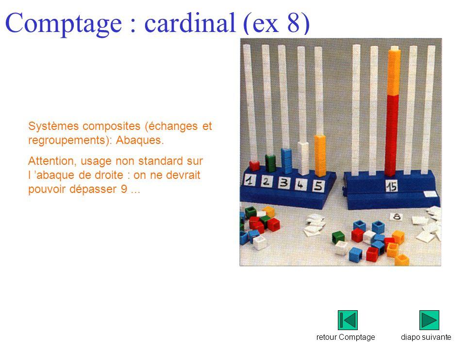 retour Comptage Comptage : cardinal (ex 8) diapo suivante Systèmes composites (échanges et regroupements): Abaques.