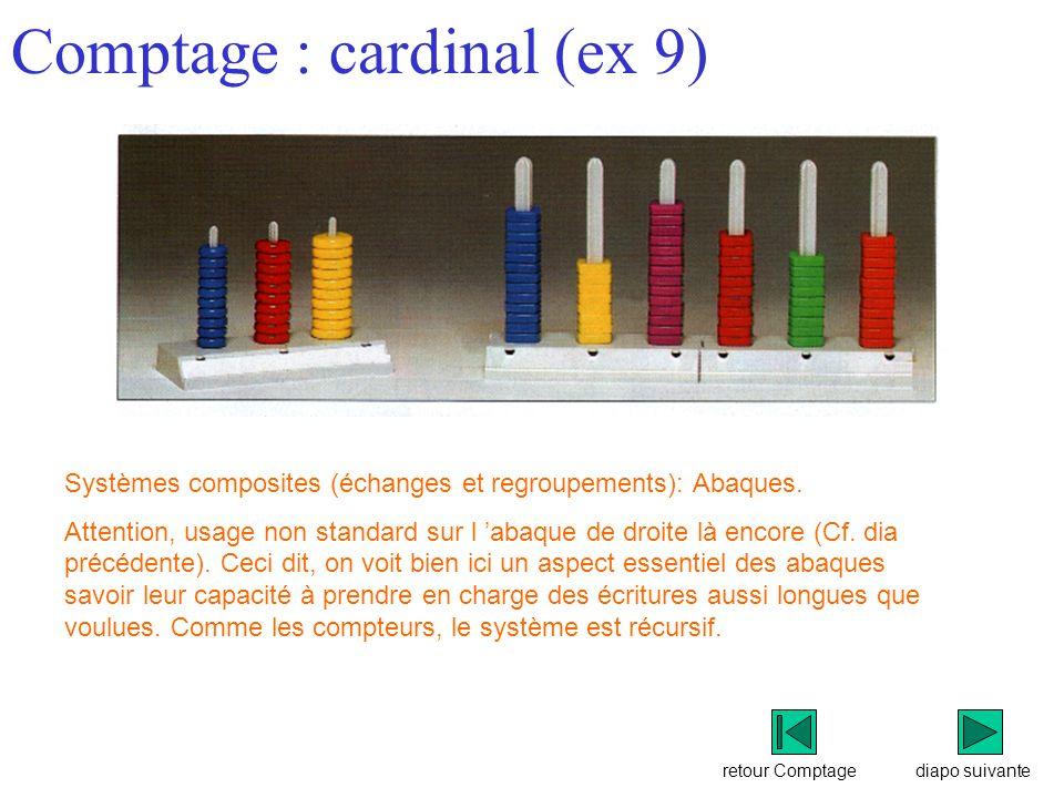 retour Comptage Comptage : cardinal (ex 9) diapo suivante Systèmes composites (échanges et regroupements): Abaques.