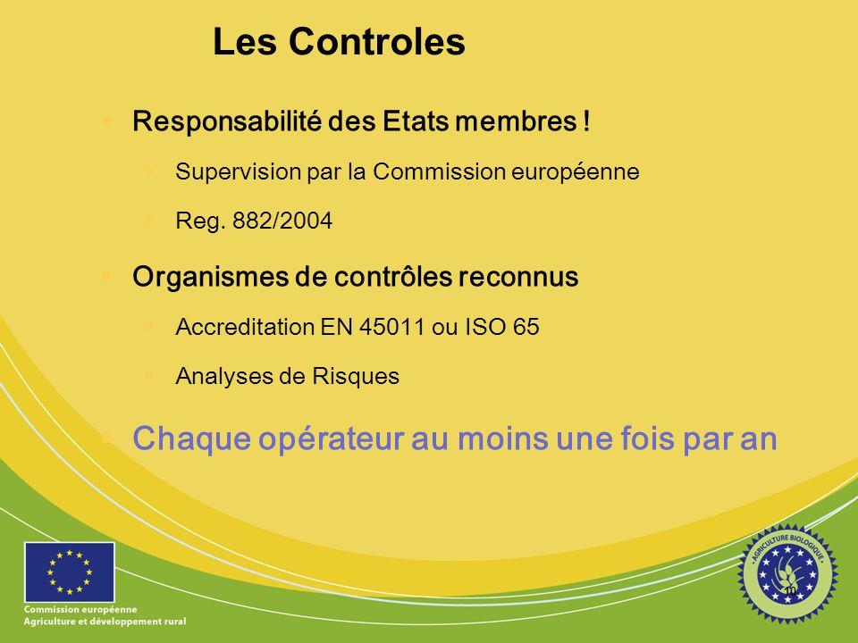 10 Les Controles  Responsabilité des Etats membres !  Supervision par la Commission européenne  Reg. 882/2004  Organismes de contrôles reconnus 