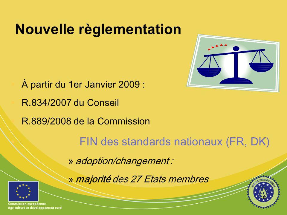 19 Nouvelle règlementation  À partir du 1er Janvier 2009 :  R.834/2007 du Conseil  R.889/2008 de la Commission  FIN des standards nationaux (FR, D