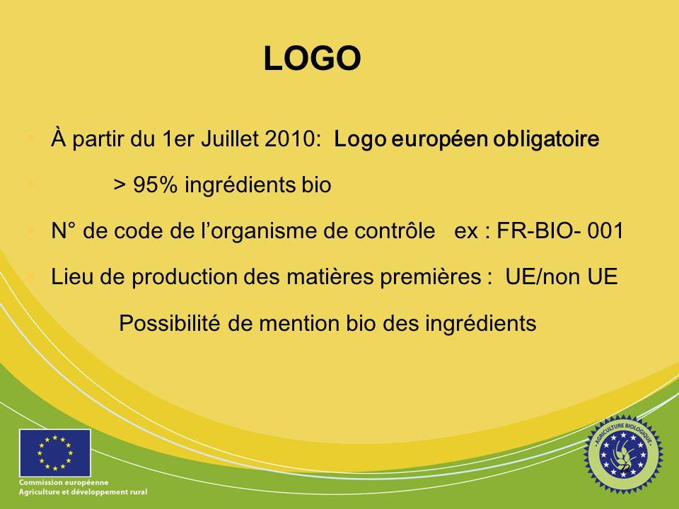 22 LOGO  À partir du 1er Juillet 2010: Logo européen obligatoire  > 95% ingrédients bio  N° de code de l'organisme de contrôle ex : FR-BIO- 001  L
