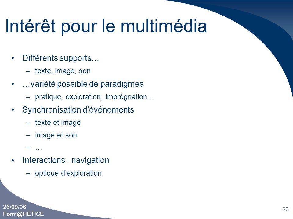 26/09/06 Form@HETICE 23 Intérêt pour le multimédia •Différents supports… –texte, image, son •…variété possible de paradigmes –pratique, exploration, i