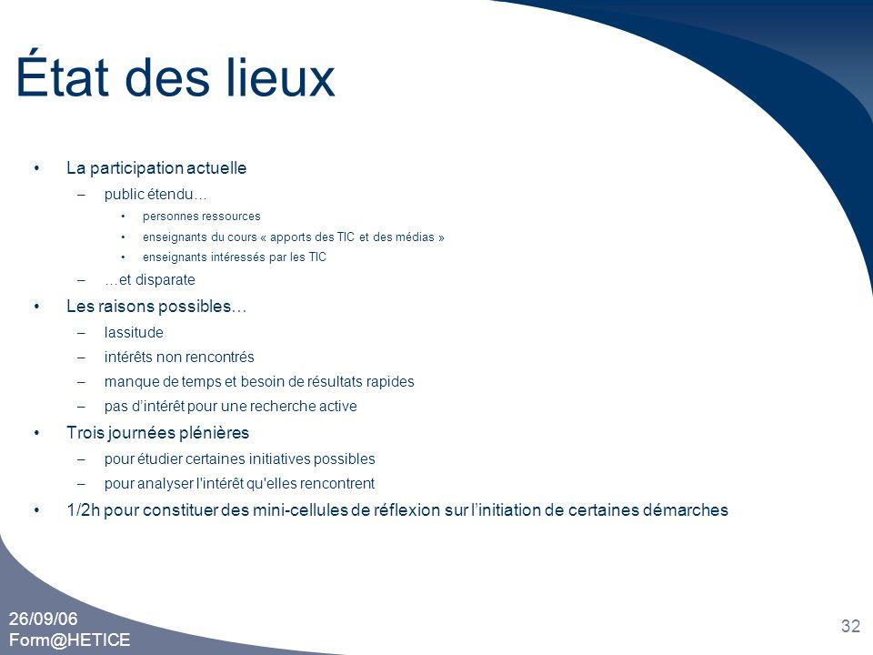 26/09/06 Form@HETICE 32 État des lieux •La participation actuelle –public étendu… •personnes ressources •enseignants du cours « apports des TIC et des