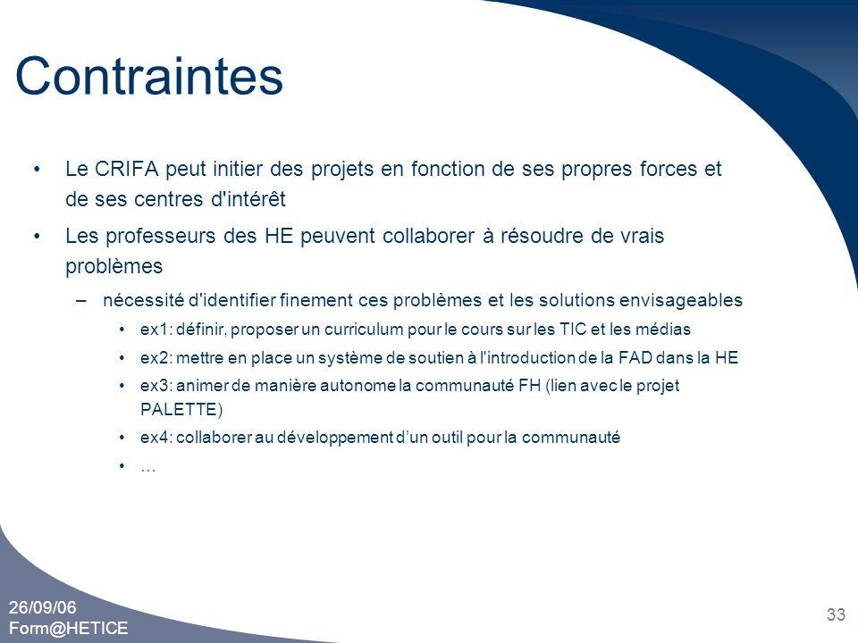 26/09/06 Form@HETICE 33 Contraintes •Le CRIFA peut initier des projets en fonction de ses propres forces et de ses centres d'intérêt •Les professeurs