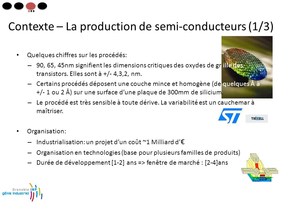 Contexte – La production de semi-conducteurs (1/3) • Quelques chiffres sur les procédés: – 90, 65, 45nm signifient les dimensions critiques des oxydes de gr ille des transistors.