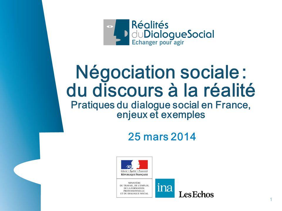 25 mars 2014 1 Négociation sociale : du discours à la réalité Pratiques du dialogue social en France, enjeux et exemples