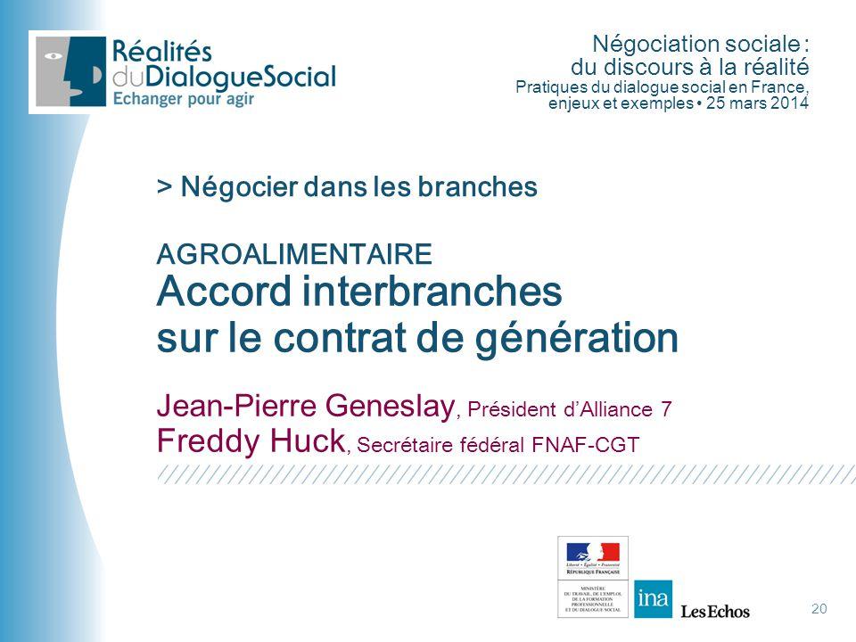 Négociation sociale : du discours à la réalité Pratiques du dialogue social en France, enjeux et exemples • 25 mars 2014 20 Accord interbranches sur l