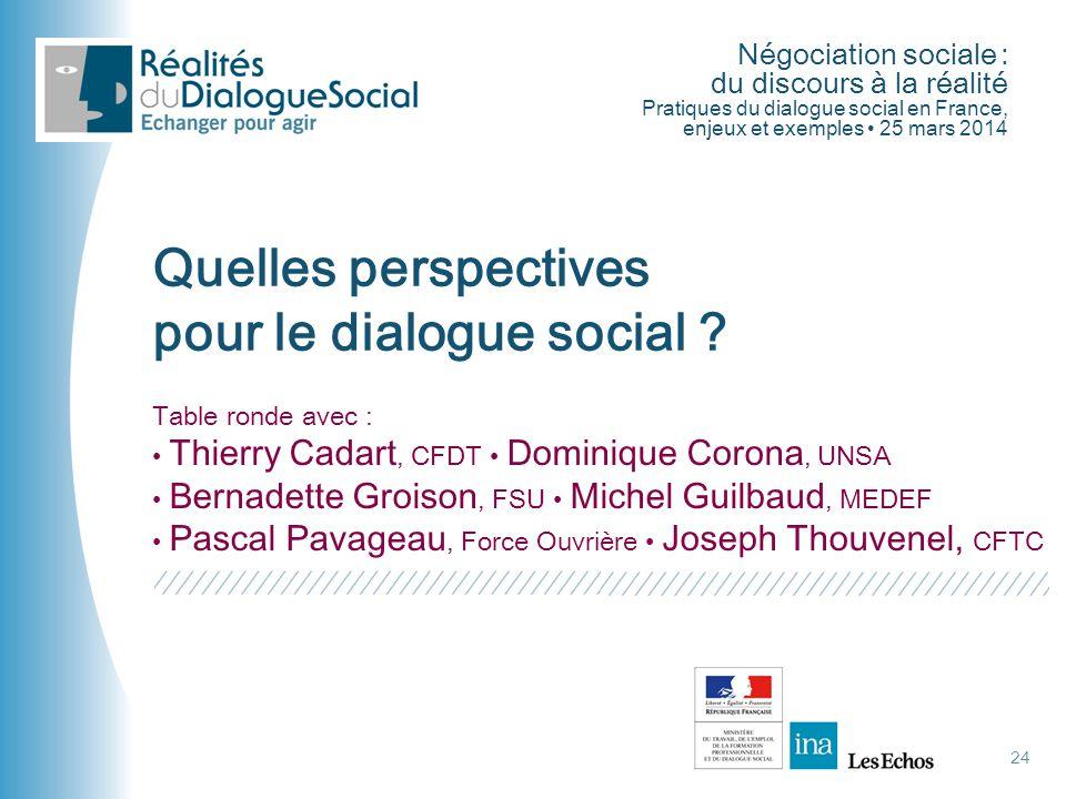 Négociation sociale : du discours à la réalité Pratiques du dialogue social en France, enjeux et exemples • 25 mars 2014 Quelles perspectives pour le