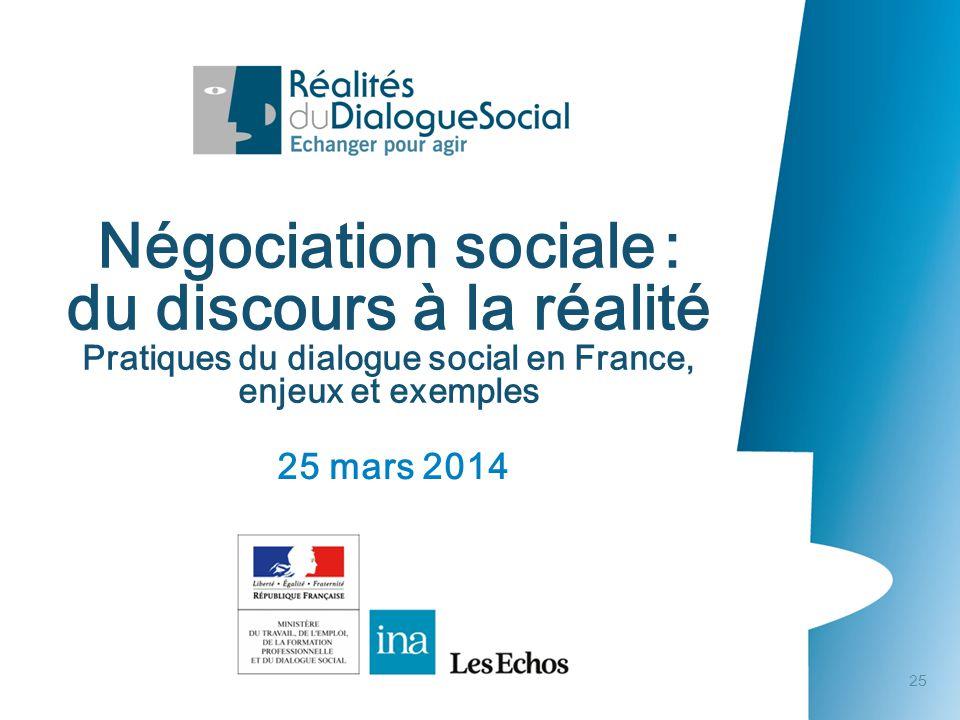 Négociation sociale : du discours à la réalité Pratiques du dialogue social en France, enjeux et exemples • 25 mars 2014 25 mars 2014 Négociation soci