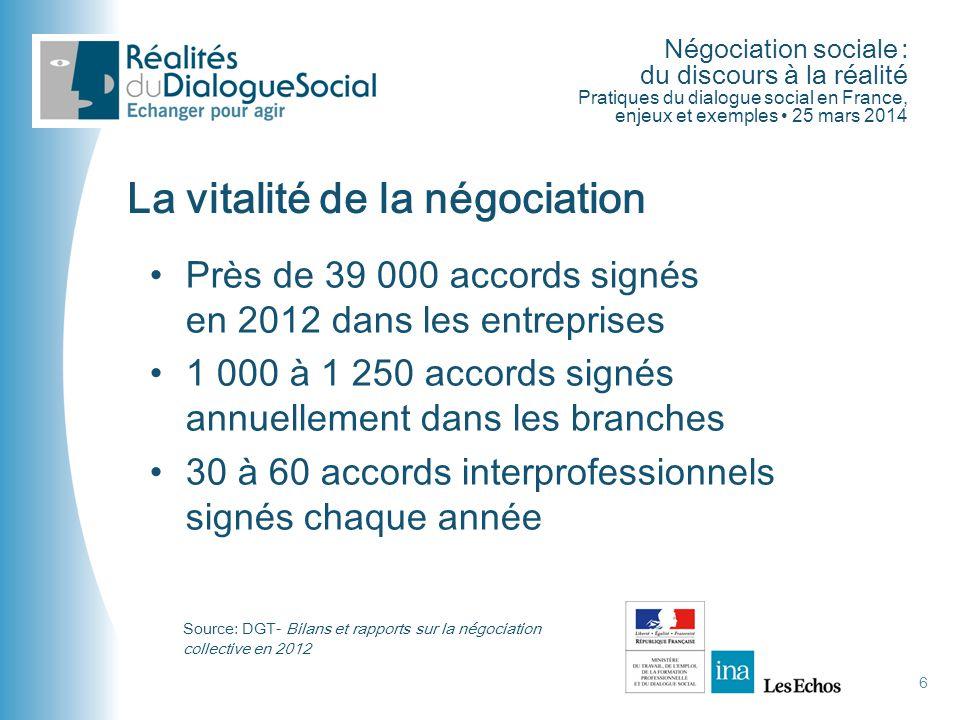Négociation sociale : du discours à la réalité Pratiques du dialogue social en France, enjeux et exemples • 25 mars 2014 6 La vitalité de la négociati
