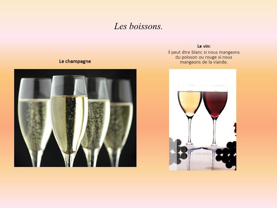 Les boissons. Le champagne Le vin: Il peut étre blanc si nous mangeons du poisson ou rouge si nous mangeons de la viande.