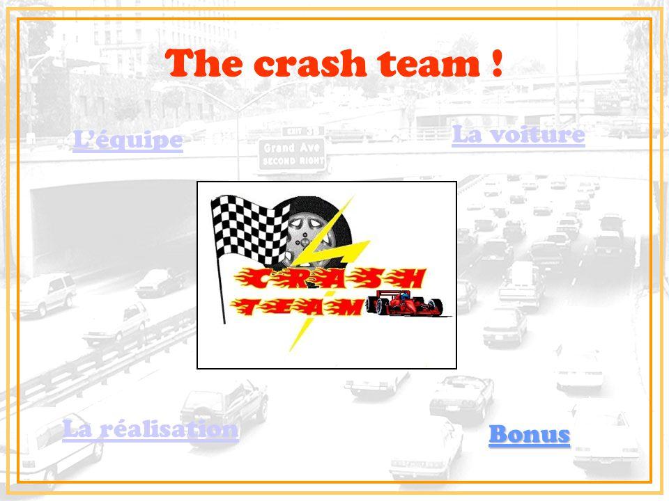 The crash team ! L'équipe La voiture La réalisation Bonus