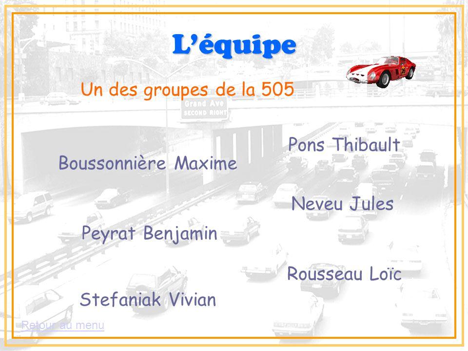 L'équipe Un des groupes de la 505 Boussonnière Maxime Neveu Jules Peyrat Benjamin Pons Thibault Rousseau Loïc Stefaniak Vivian Retour au menu