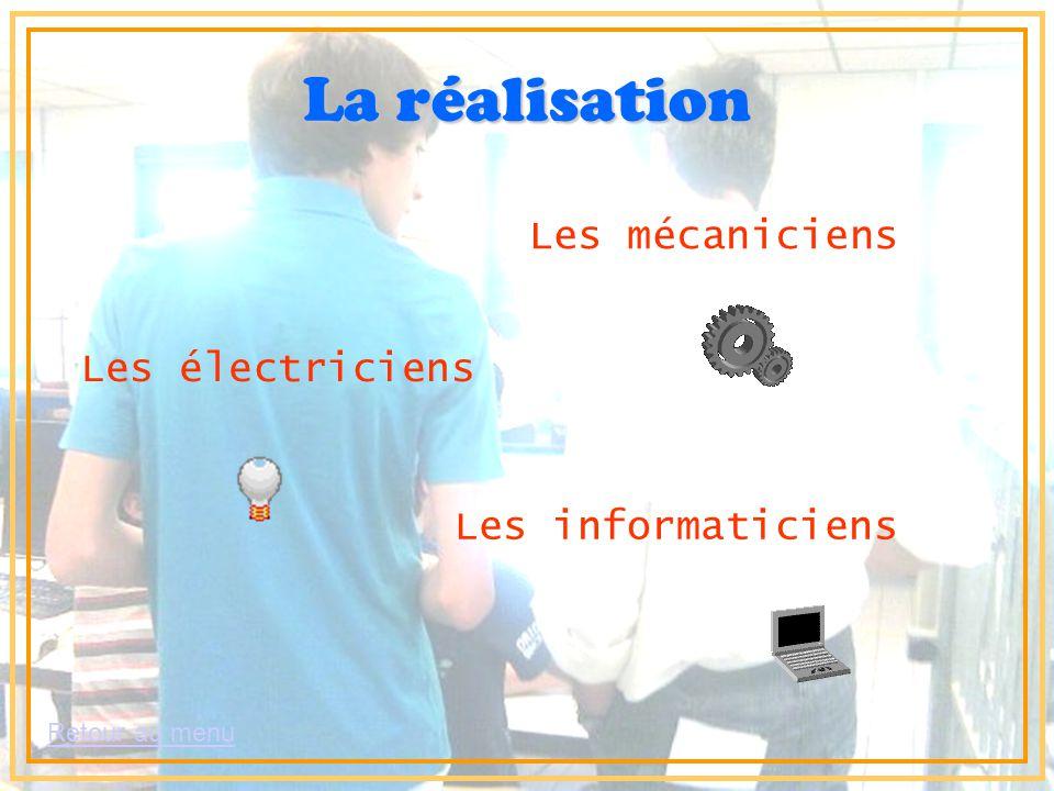 Retour au menu La réalisation Les électriciens Les mécaniciens Les informaticiens