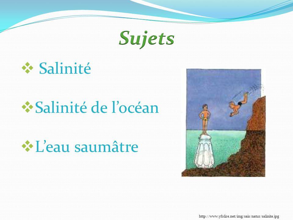  Salinité  Salinité de l'océan  L'eau saumâtre http://www.yfolire.net/img/sais/natur/salinite.jpg