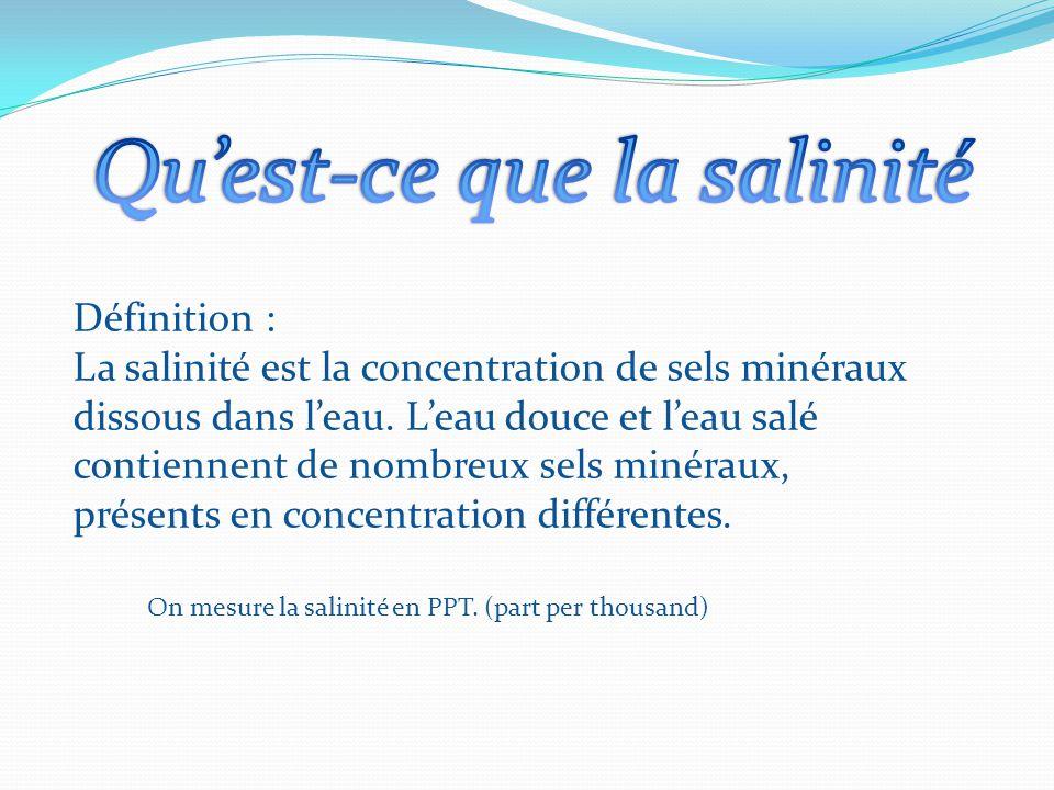 Définition : La salinité est la concentration de sels minéraux dissous dans l'eau. L'eau douce et l'eau salé contiennent de nombreux sels minéraux, pr