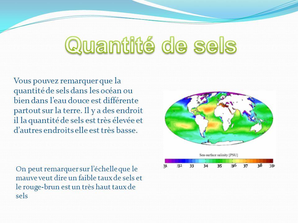 31 3233343536373839 Vous pouvez remarquer que la quantité de sels dans les océan ou bien dans l'eau douce est différente partout sur la terre. Il y a