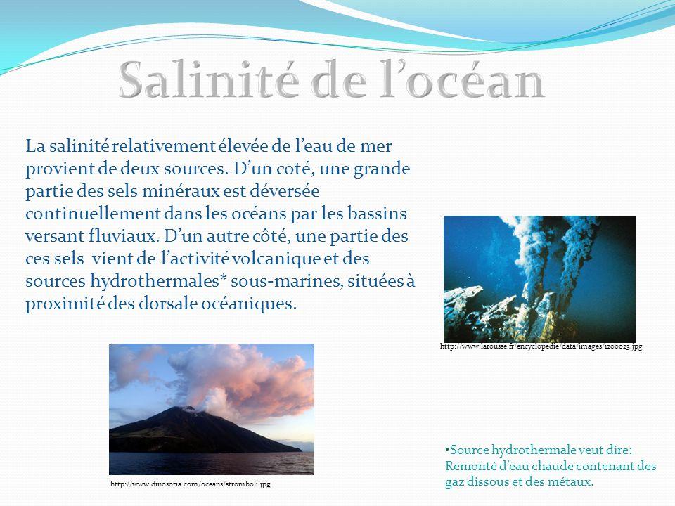 La salinité relativement élevée de l'eau de mer provient de deux sources. D'un coté, une grande partie des sels minéraux est déversée continuellement
