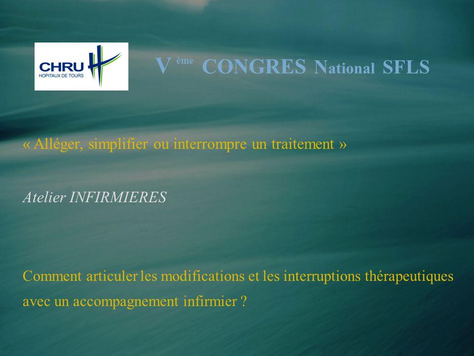 « Alléger, simplifier ou interrompre un traitement » Atelier INFIRMIERES Comment articuler les modifications et les interruptions thérapeutiques avec