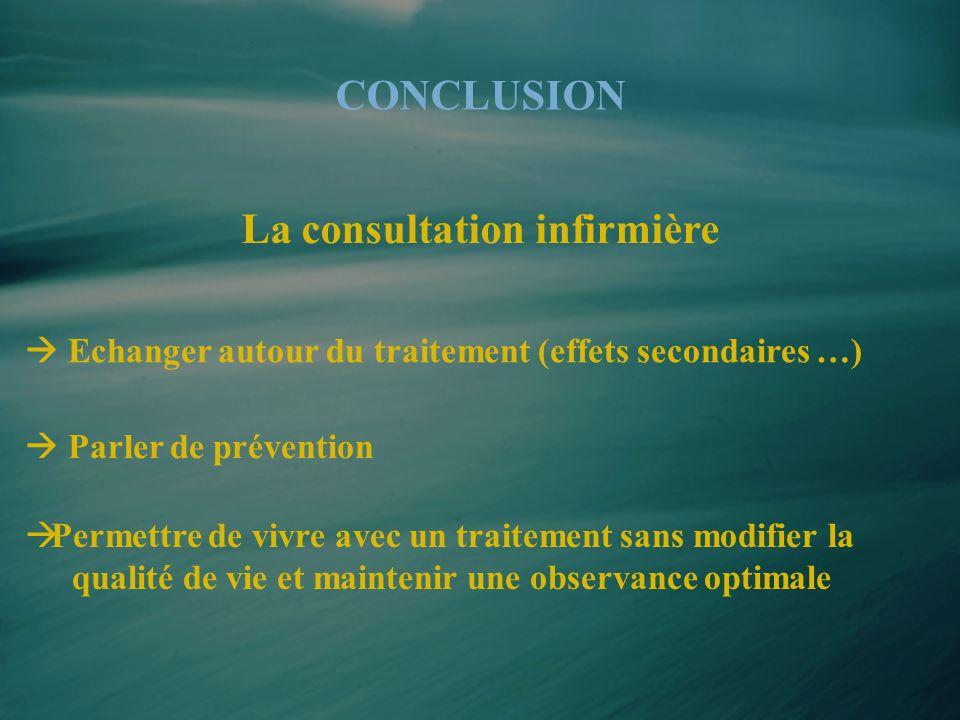 CONCLUSION  Echanger autour du traitement (effets secondaires …)  Permettre de vivre avec un traitement sans modifier la qualité de vie et maintenir