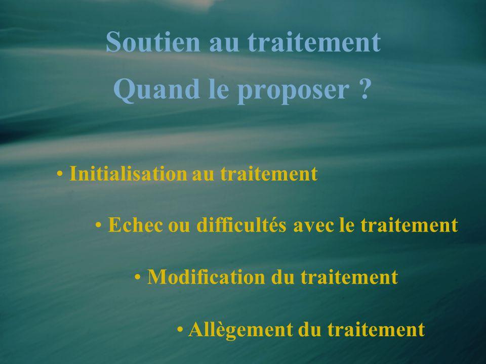 • Initialisation au traitement • Modification du traitement • Echec ou difficultés avec le traitement Soutien au traitement Quand le proposer ? • Allè
