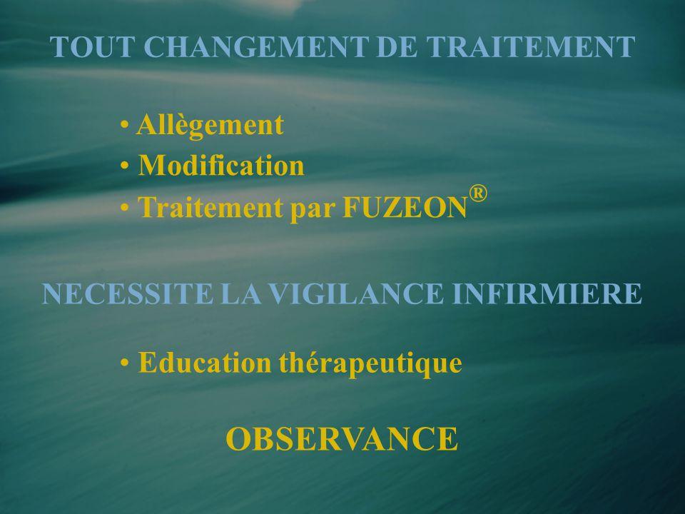 • Allègement • Traitement par FUZEON ® • Modification TOUT CHANGEMENT DE TRAITEMENT NECESSITE LA VIGILANCE INFIRMIERE OBSERVANCE • Education thérapeut