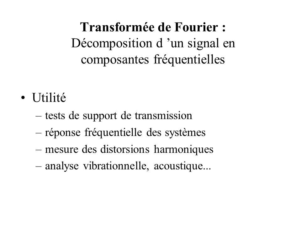 Transformée de Fourier : Décomposition d 'un signal en composantes fréquentielles •Utilité –tests de support de transmission –réponse fréquentielle des systèmes –mesure des distorsions harmoniques –analyse vibrationnelle, acoustique...