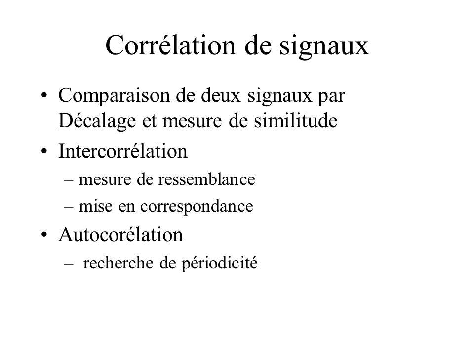 Corrélation de signaux •Comparaison de deux signaux par Décalage et mesure de similitude •Intercorrélation –mesure de ressemblance –mise en correspondance •Autocorélation – recherche de périodicité