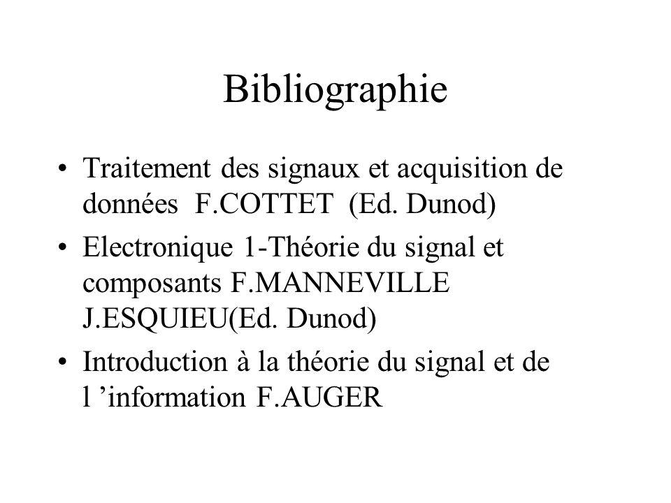 Bibliographie •Traitement des signaux et acquisition de données F.COTTET (Ed.