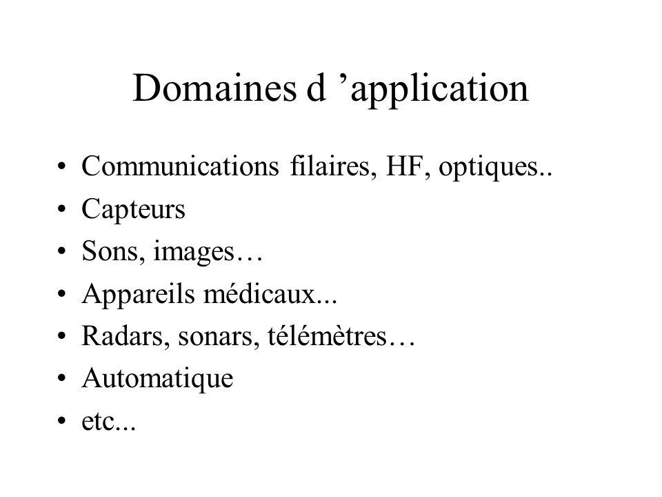 Domaines d 'application •Communications filaires, HF, optiques..