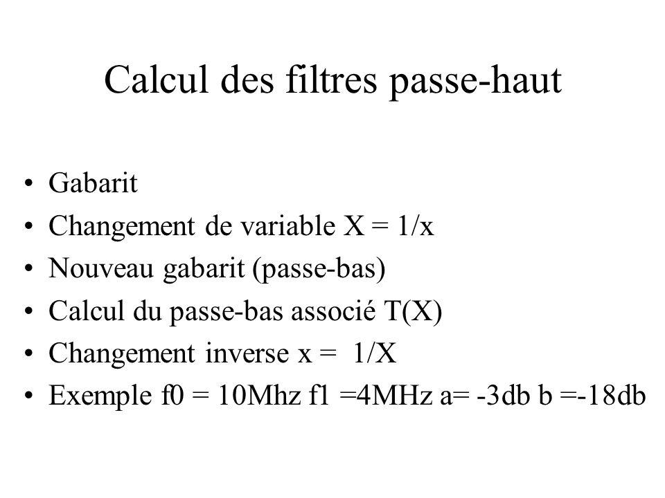 Calcul des filtres passe-haut •Gabarit •Changement de variable X = 1/x •Nouveau gabarit (passe-bas) •Calcul du passe-bas associé T(X) •Changement inverse x = 1/X •Exemple f0 = 10Mhz f1 =4MHz a= -3db b =-18db