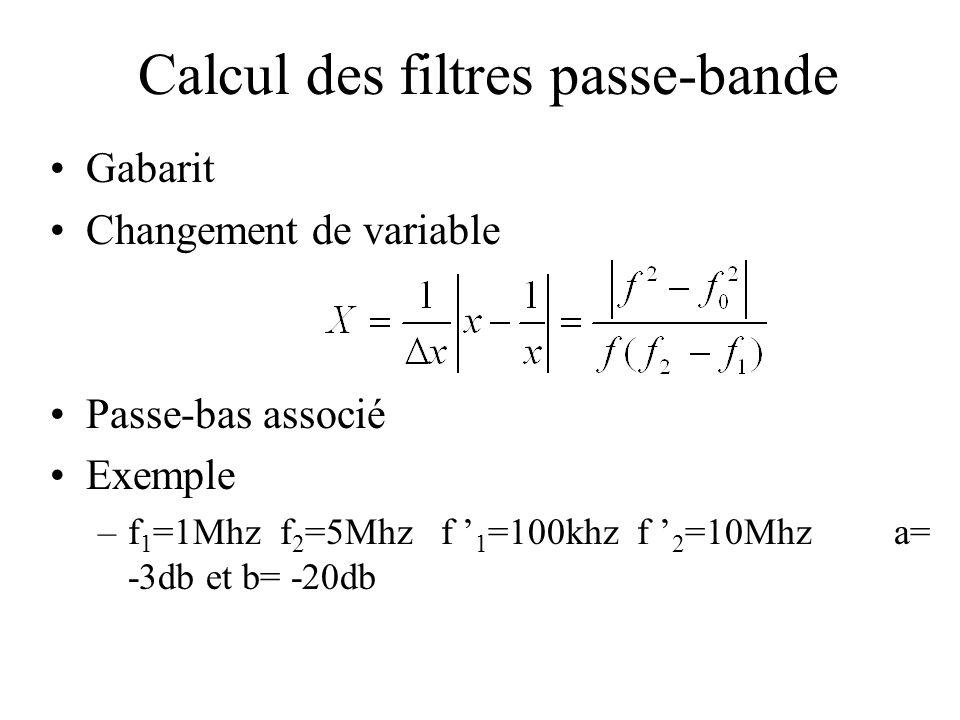 Calcul des filtres passe-bande •Gabarit •Changement de variable •Passe-bas associé •Exemple –f 1 =1Mhz f 2 =5Mhz f ' 1 =100khz f ' 2 =10Mhz a= -3db et b= -20db