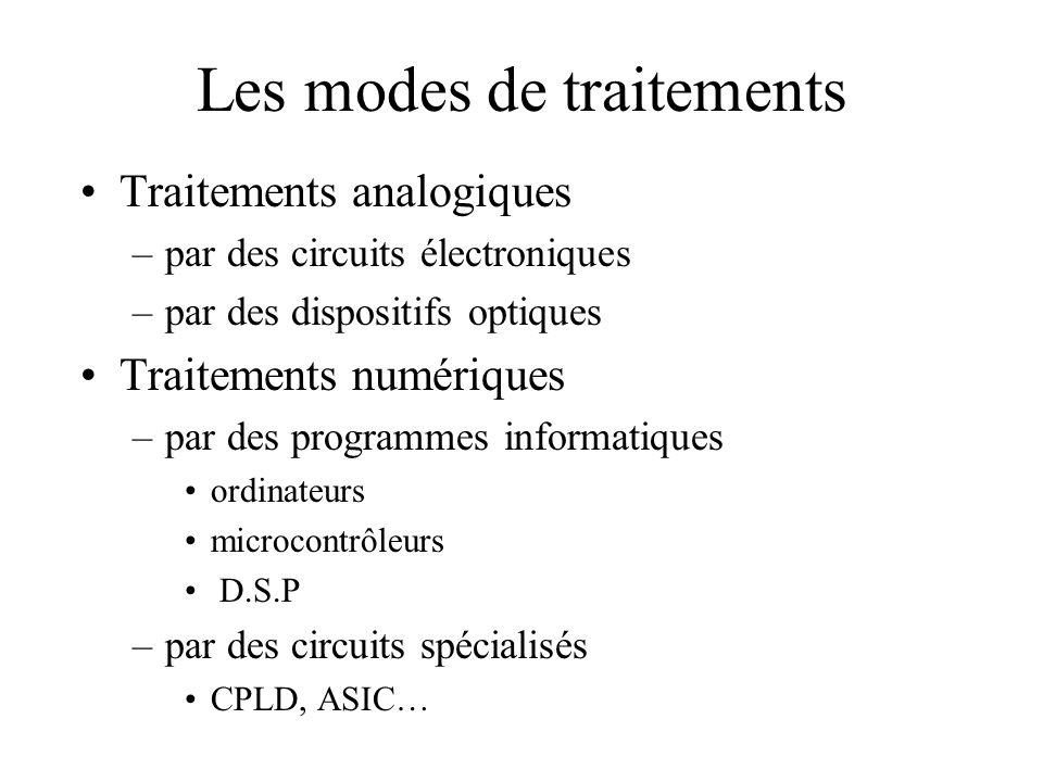 Les modes de traitements •Traitements analogiques –par des circuits électroniques –par des dispositifs optiques •Traitements numériques –par des programmes informatiques •ordinateurs •microcontrôleurs • D.S.P –par des circuits spécialisés •CPLD, ASIC…