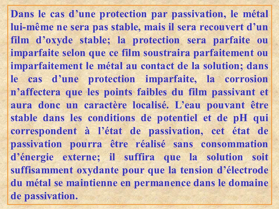 Dans le cas d'une protection par passivation, le métal lui-même ne sera pas stable, mais il sera recouvert d'un film d'oxyde stable; la protection ser