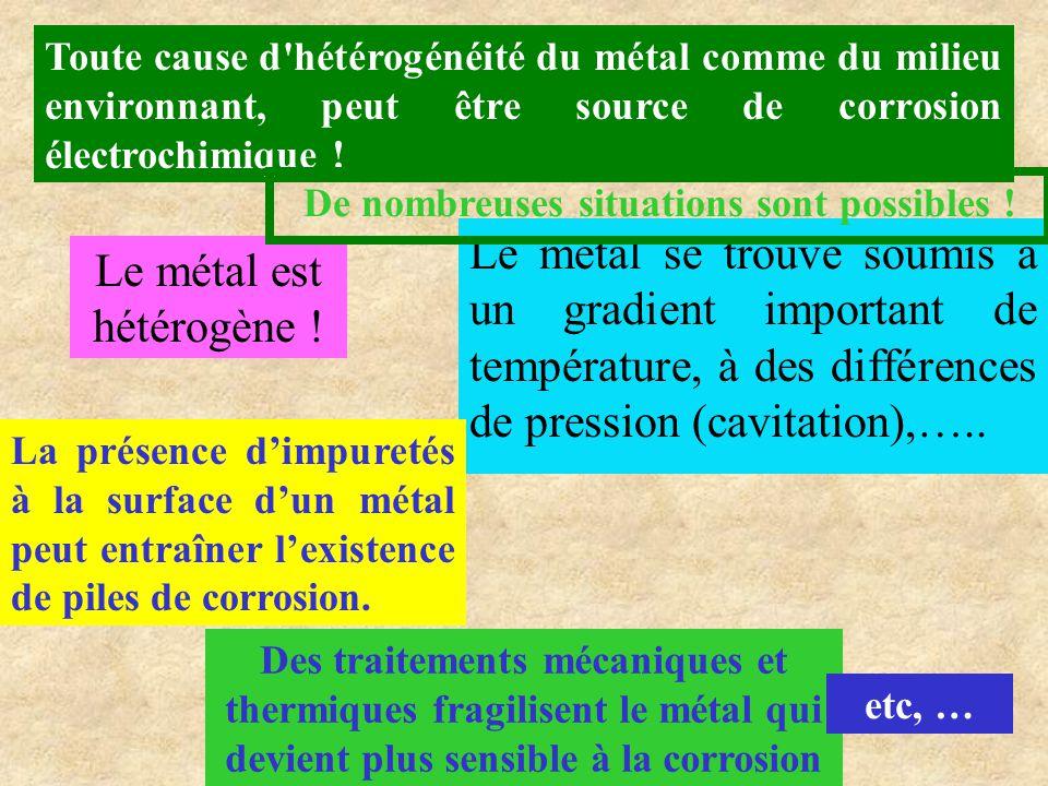 Toute cause d'hétérogénéité du métal comme du milieu environnant, peut être source de corrosion électrochimique ! Le métal se trouve soumis à un gradi