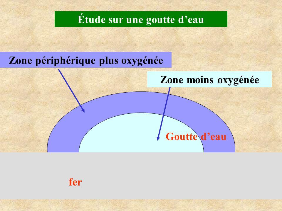 Zone périphérique plus oxygénée Goutte d'eau Zone moins oxygénée fer Étude sur une goutte d'eau