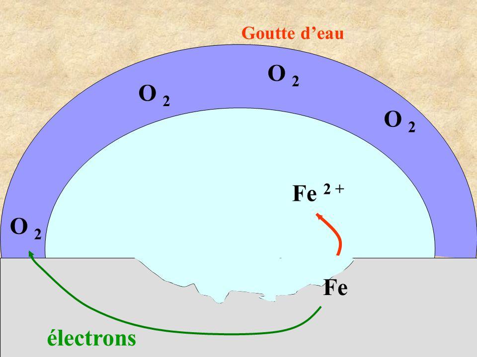 Fe 2 + O 2 électrons O 2 Fe Goutte d'eau