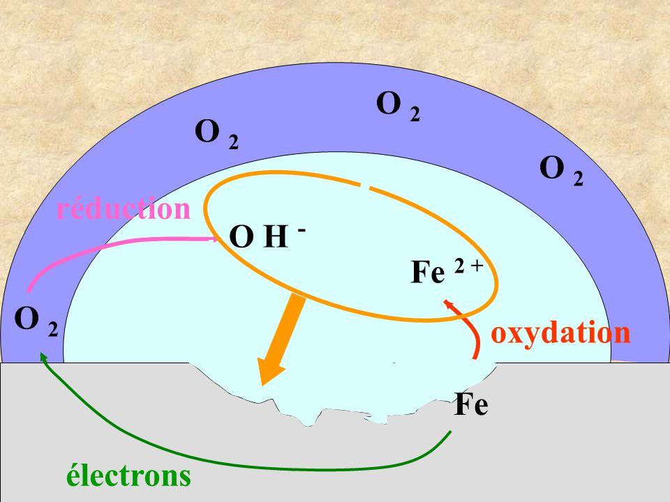 Fe 2 + O 2 électrons O 2 Fe oxydation O H - réduction