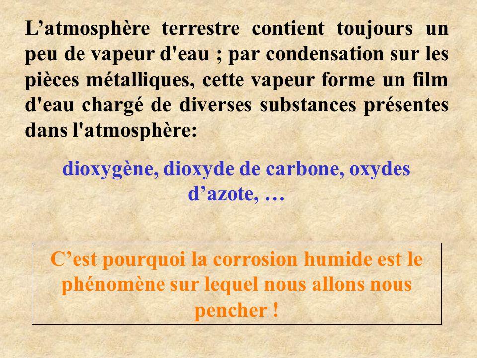 •Oxydation du fer (zone moins aérée) •Réduction du dioxygène (zone plus aérée ) •Formation de la rouille    e2Fe 2 oxydation )s(   OH2e2OHO 2 1 réduction 22 ROUILLE