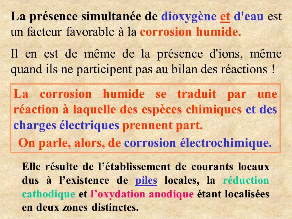 •Oxydation du fer (zone moins aérée) •Réduction du dioxygène (zone plus aérée ) •Formation de la rouille    e2Fe 2 oxydation )s(   OH2e2OHO 2 1 réduction 22 Fe 2 O 3, n H 2 O