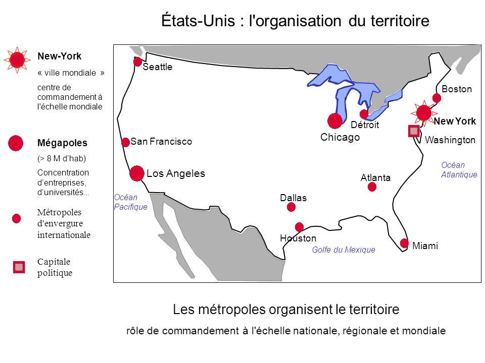 Les métropoles organisent le territoire rôle de commandement à l'échelle nationale, régionale et mondiale New-York « ville mondiale » centre de comman